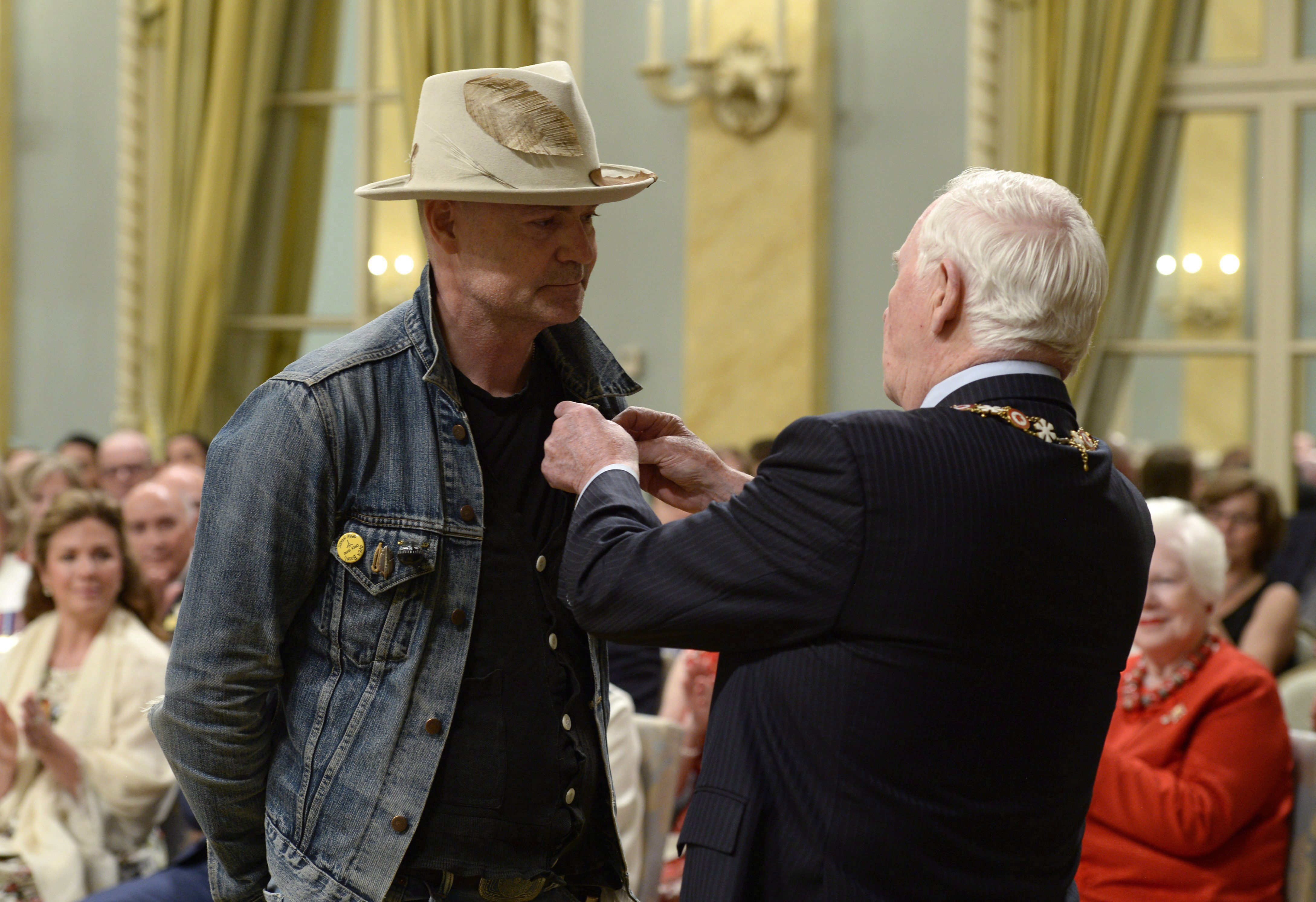 Gord Downie receiving the Order of Canada from Governor General David Johnston in June 2017.
