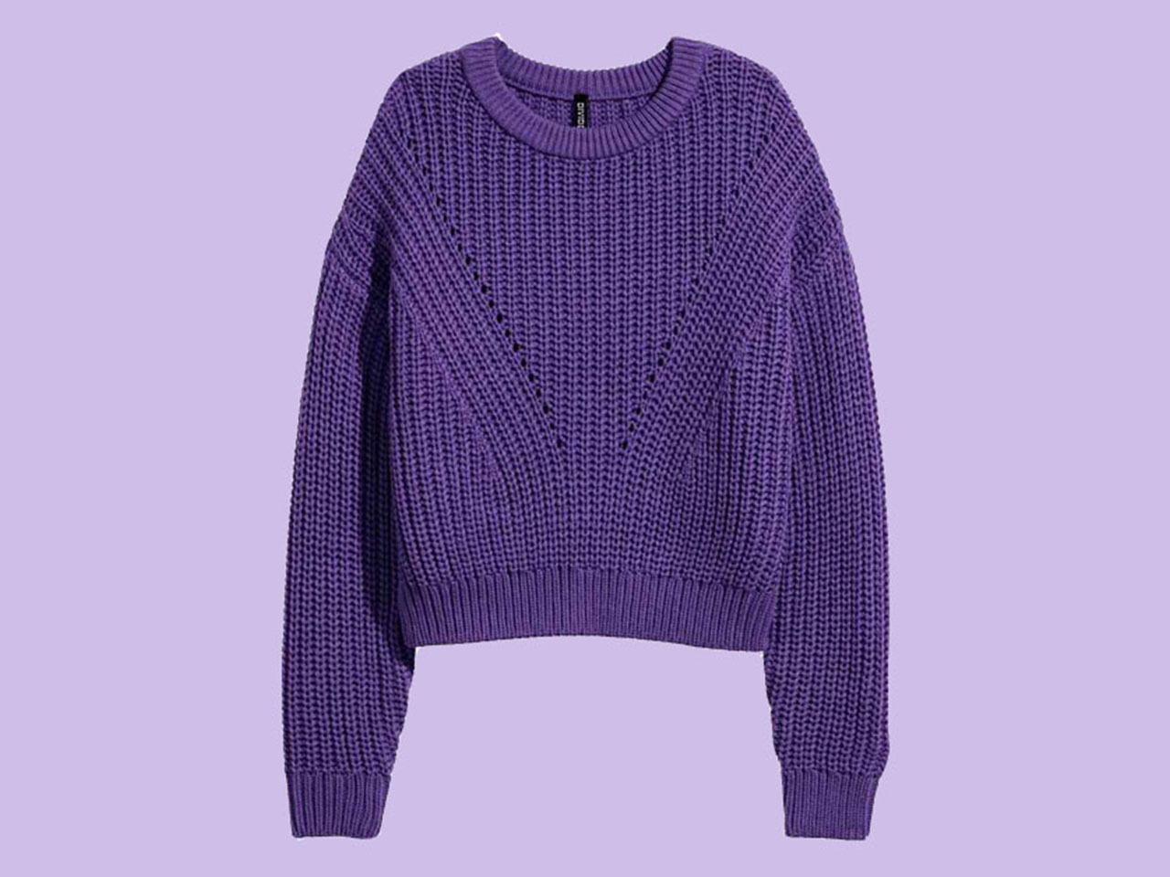Purple sweater on a purple background for article on Pantone Colour of the Year 2018 Ultra Violet