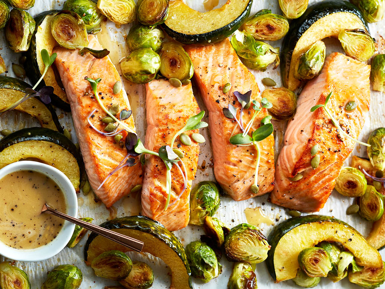 baked salmon with squash