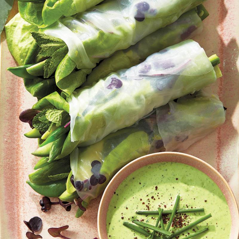 Avocado and snap pea salad rolls