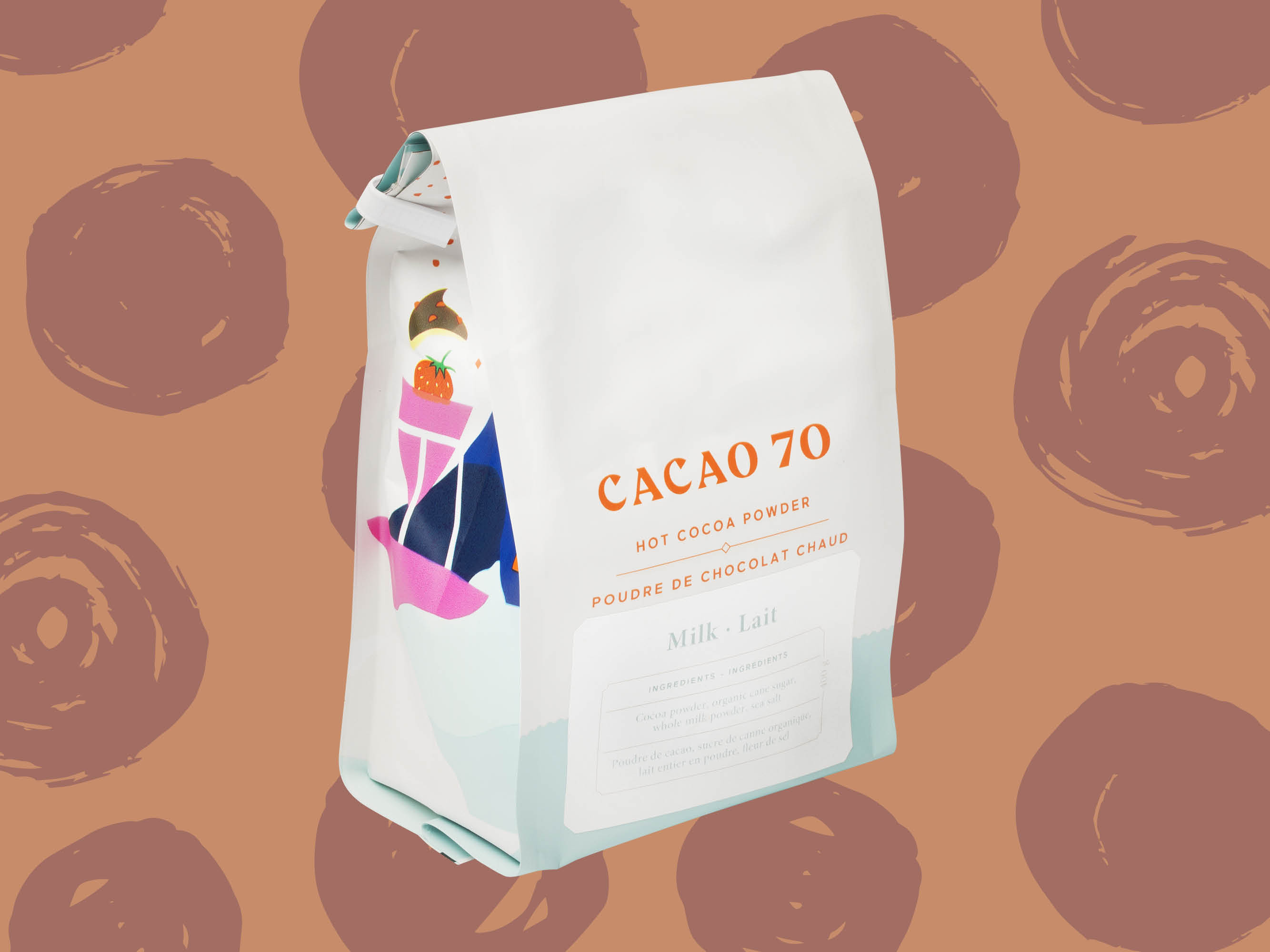 Bag of Cacao 70 hot chocolate mix on brown background