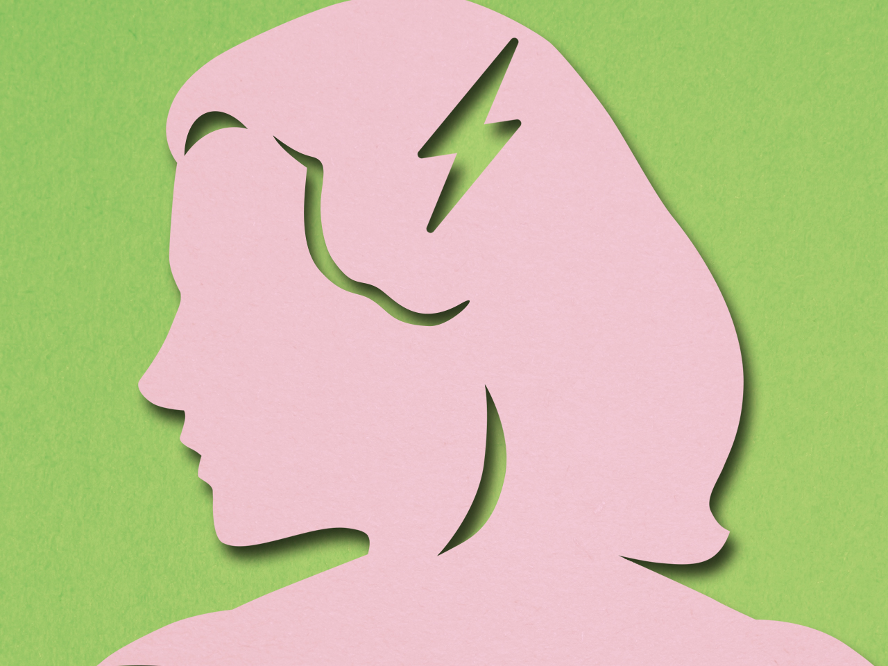 lower stroke risk - illustration of a pink woman's head in profile against green background