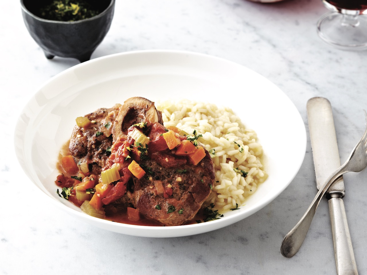 Osso bucco and risotto