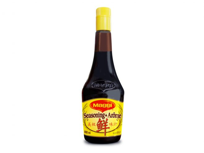 A bottle of yellow-capped Chinese Maggi sauce