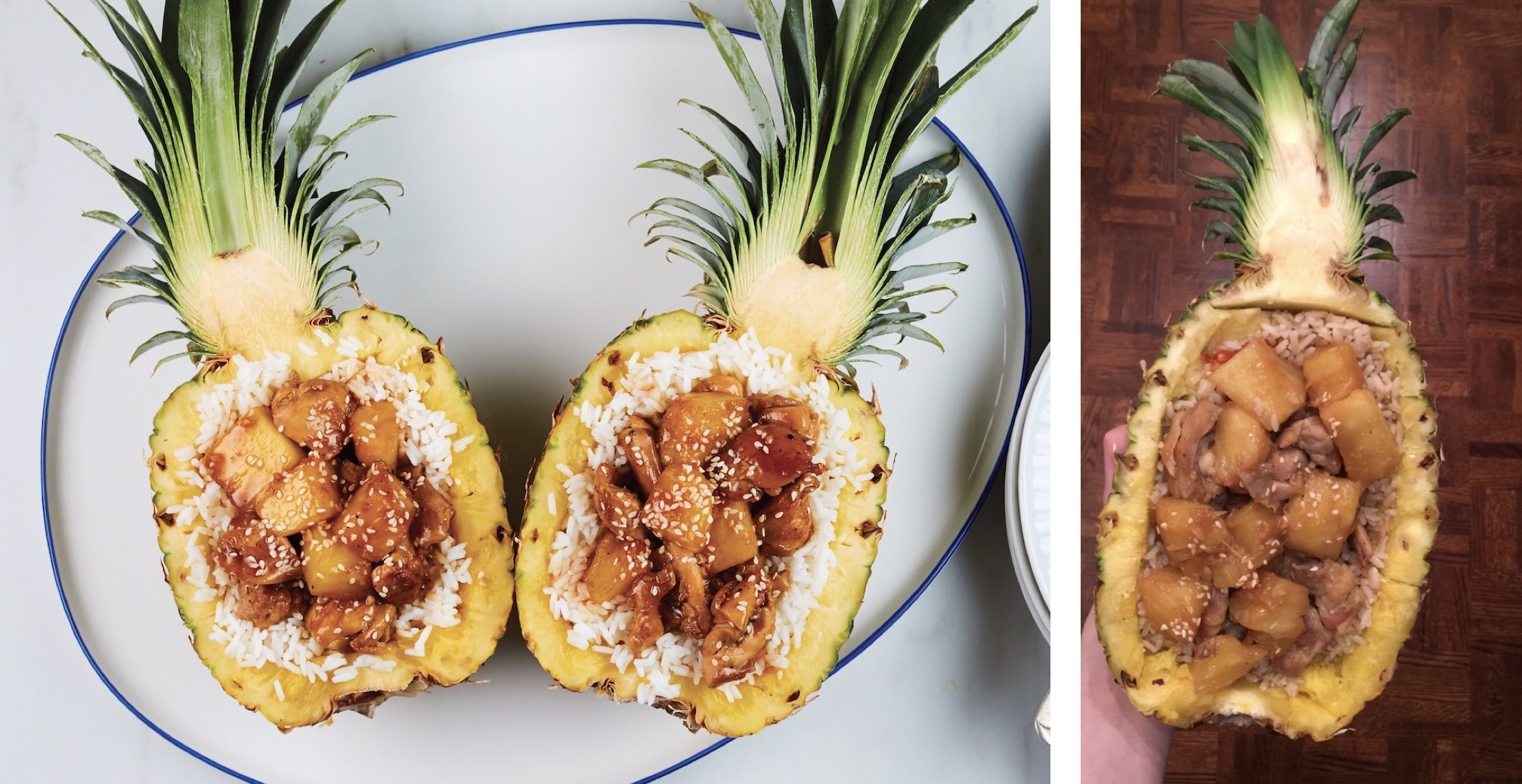 Chicken and rice-stuffed pinepples from the Tasty cookbook