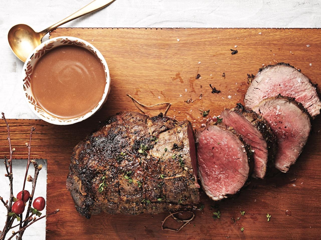 Roast beef tenderloin with gravy.