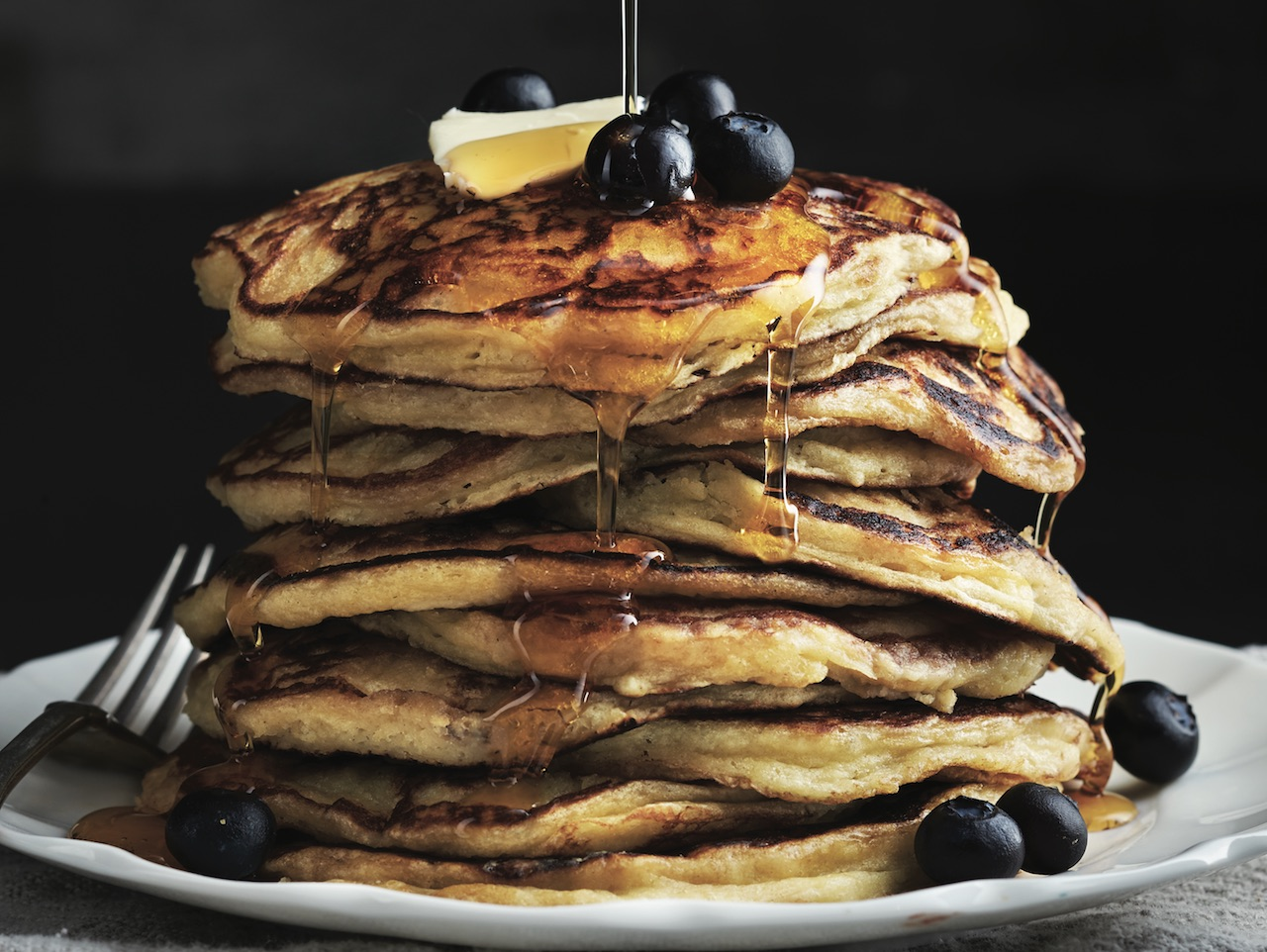 Stack of buttermilk pancakes.