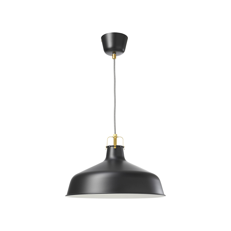 black wide-shade pendant lamp on a white background on white background