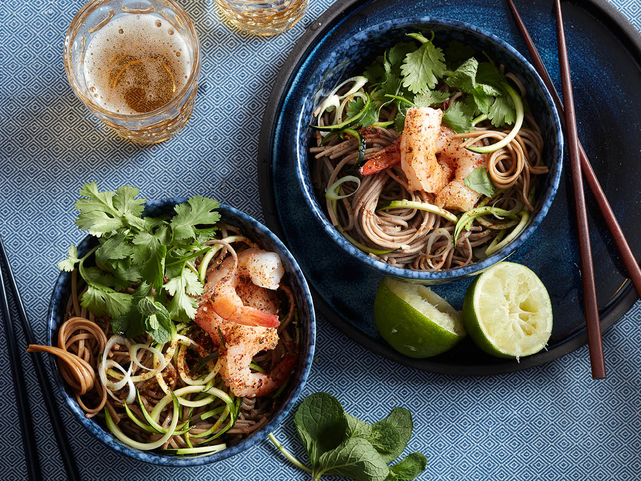Togarashi shrimp, spiralized zucchini and soba bowls