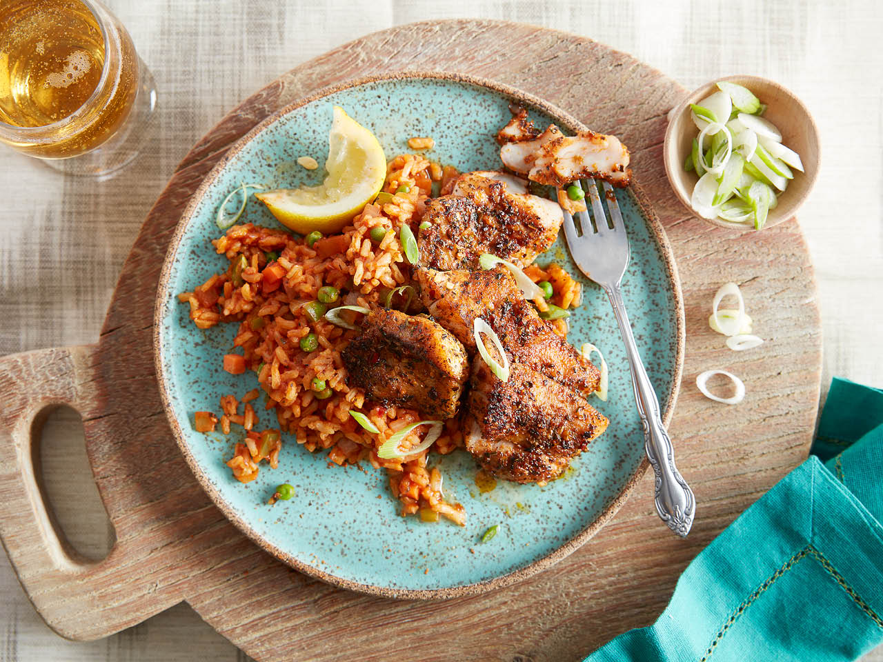blackened red snapper and cajun rice
