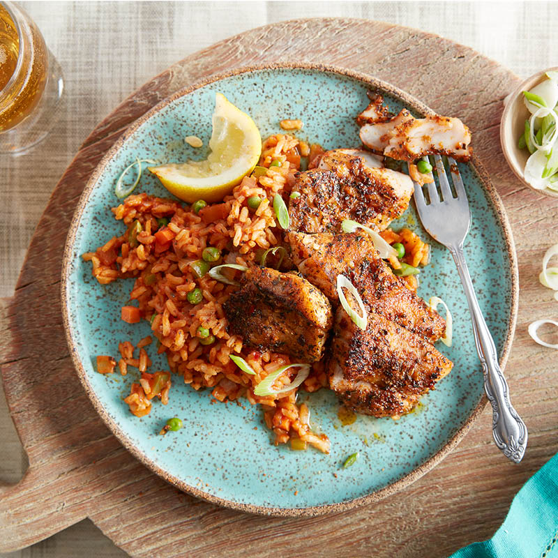 Blackened red snapper with cajun rice