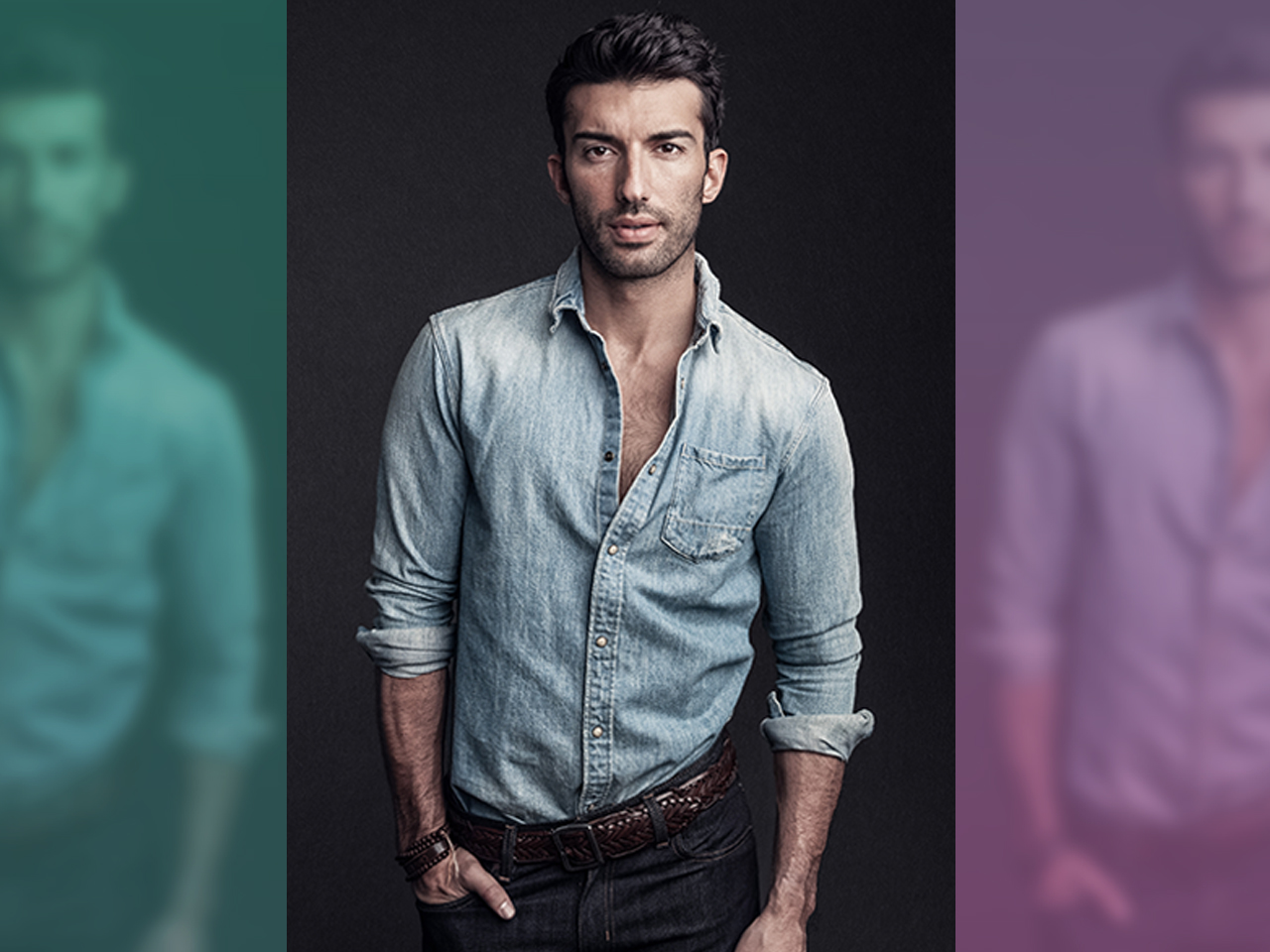 justin baldoni, pictured here in a white shirt and black pants, on how to be a man