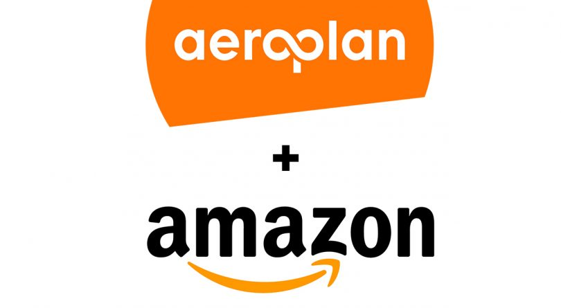 picture of aeroplan and amazon logos stacked on top of each other with a plus sign in the middle for article on how you can now earn aeroplan points on amazon