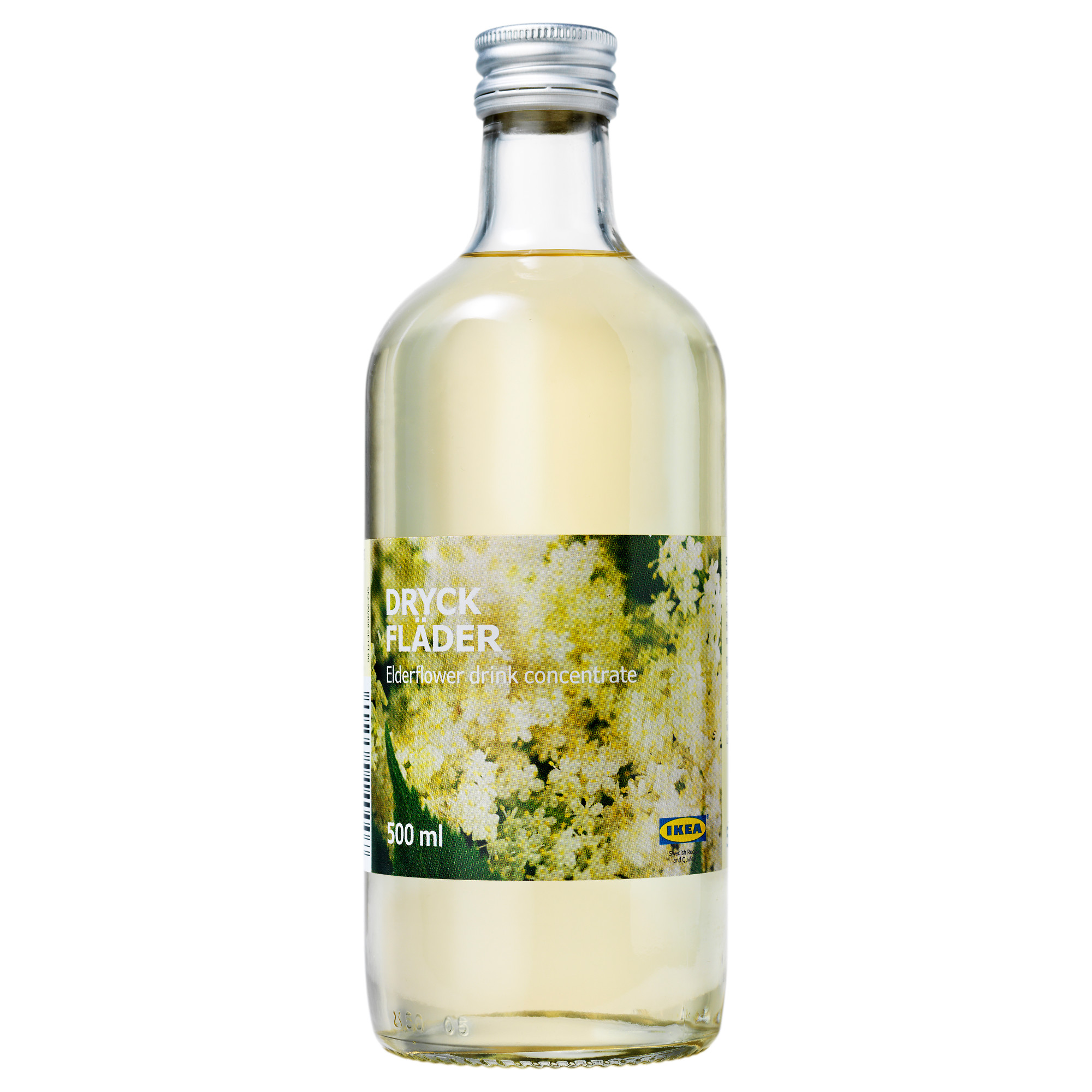 Bottle of IKEA elderflower syrup.