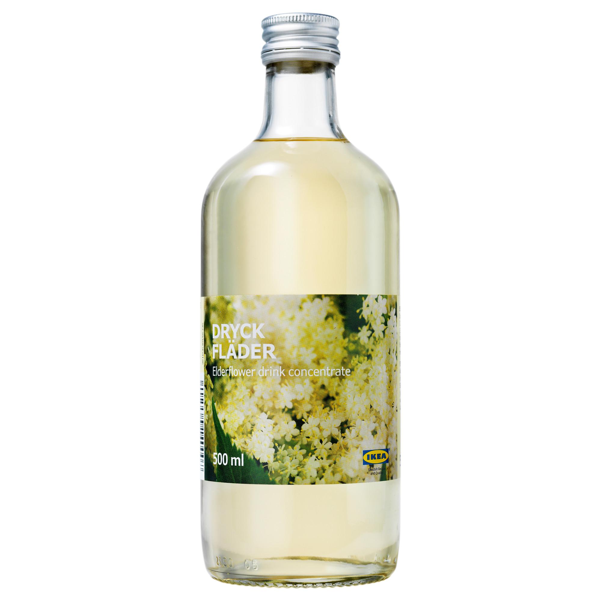 Bottle of IKEA elderflower syrup.