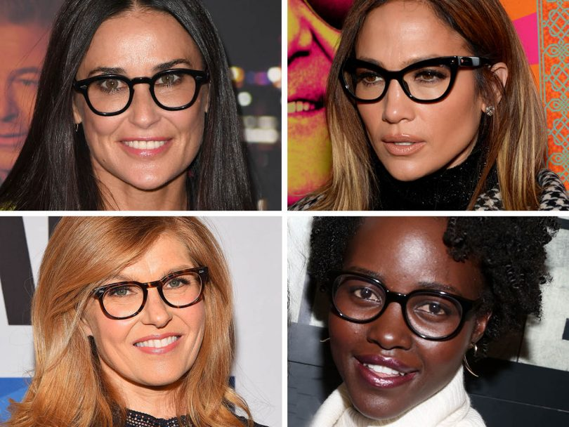 Demi Moore, Jennifer Lopez, Connie Britton and Lupita Nyong'o illustrate a piece on how to pick glasses for your face shape