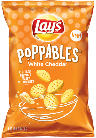Orange bag of Lays poppable chips.