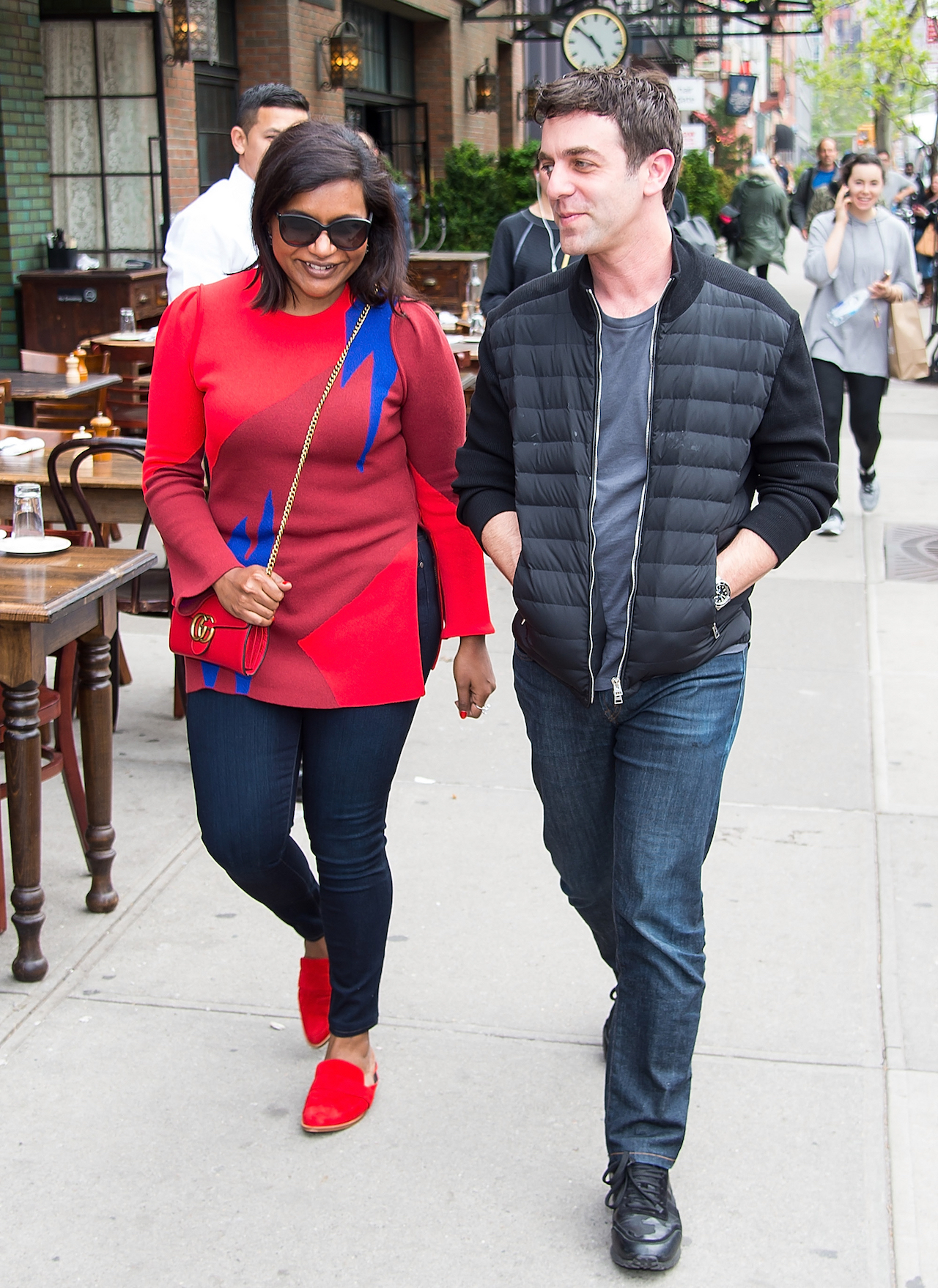 mindy kaling baby daddy bj novak: pair walk together in new york
