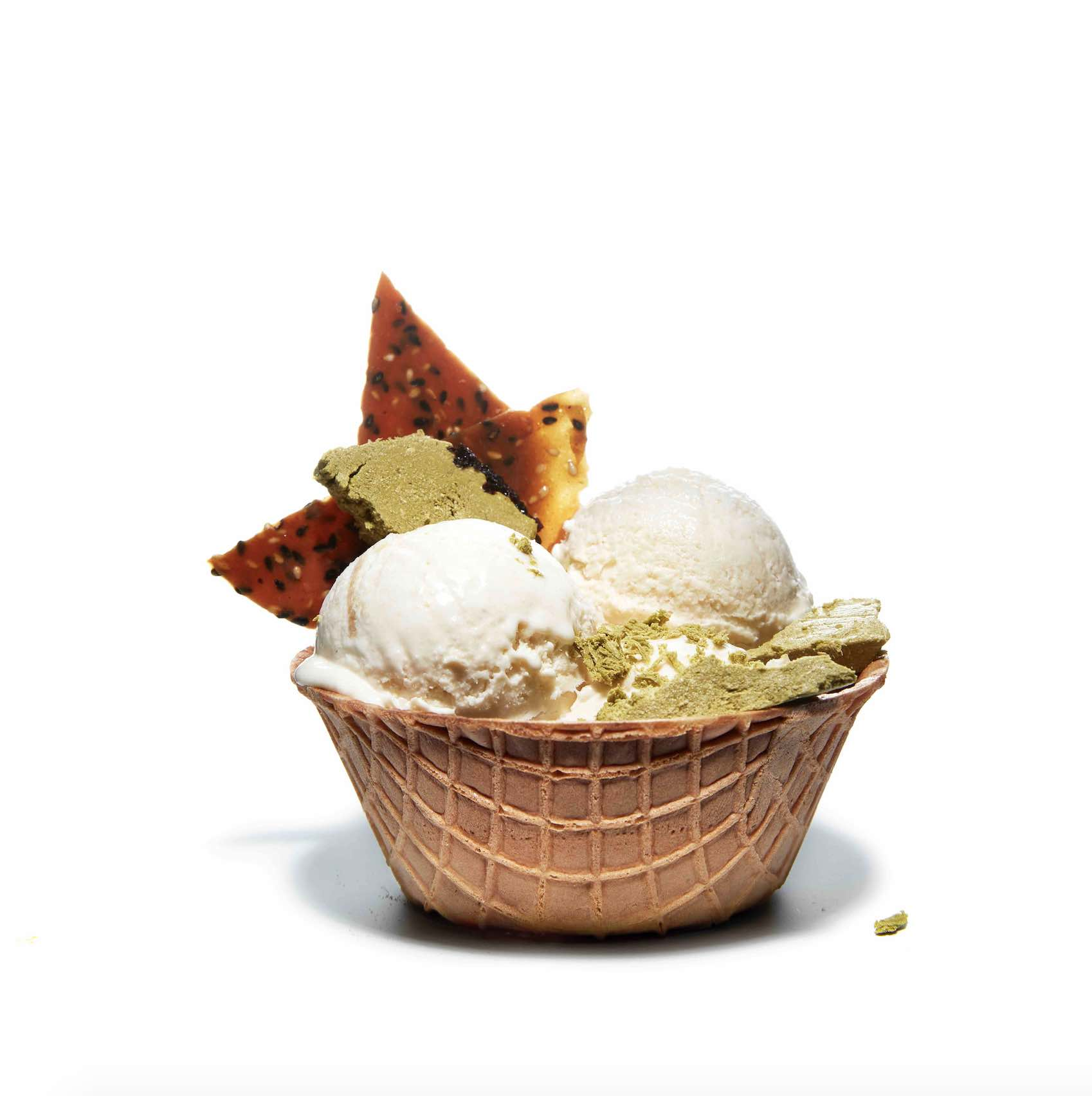 Waffle bowl of tahini ice cream.