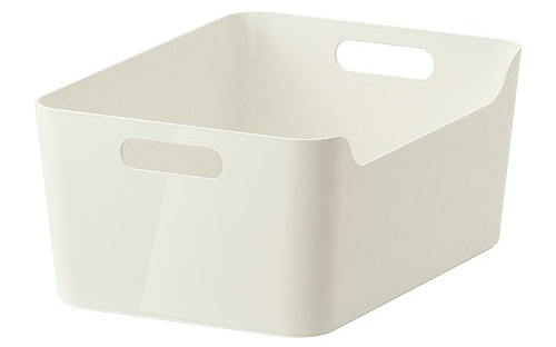 Picture of a white plastic Variera basket from ikea tupperware organization and storage solutions
