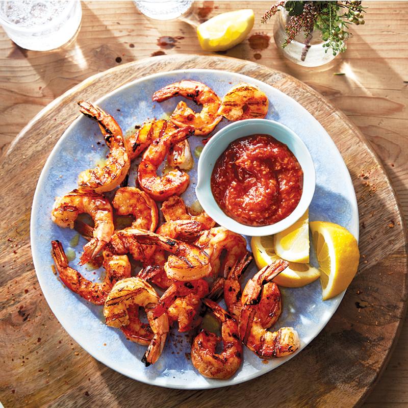 Grilled piri piri shrimp with cocktail sauce