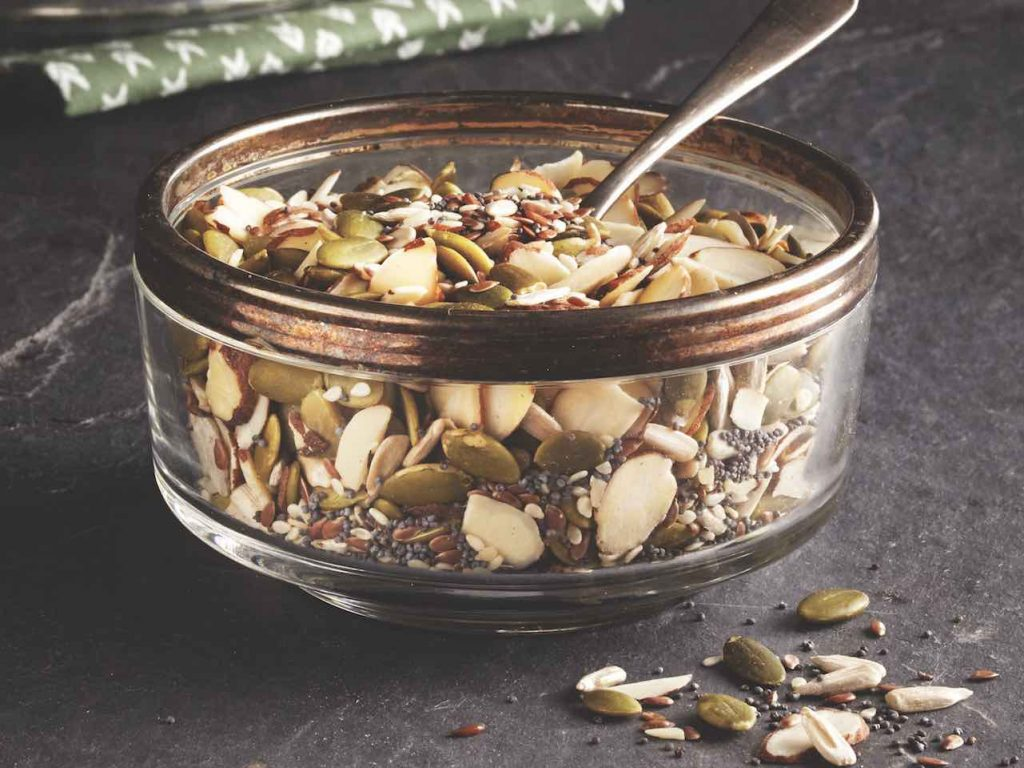 Mixed nuts and seeds in a bowl