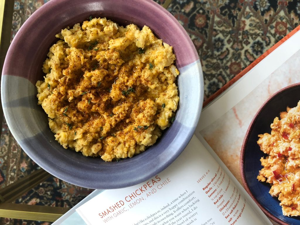 Smashed Chickpeas with Garlic and Chilies recipe from Nigella Lawson