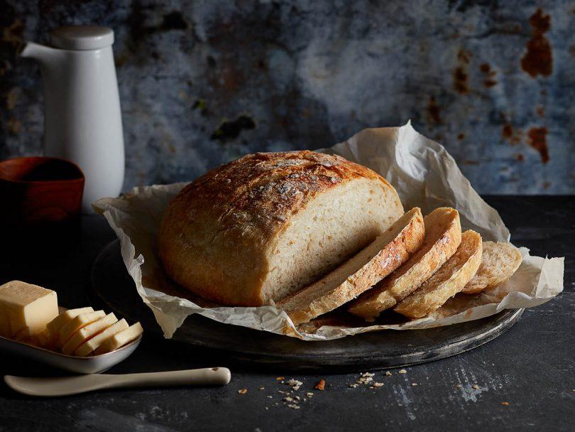 Instant pot bread sliced on platter