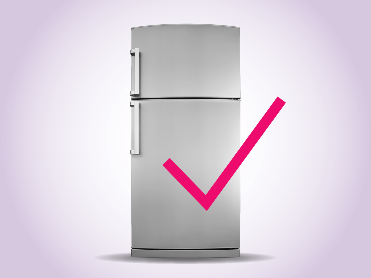 refrigerator on purple background with a pink checkmark in front of the door