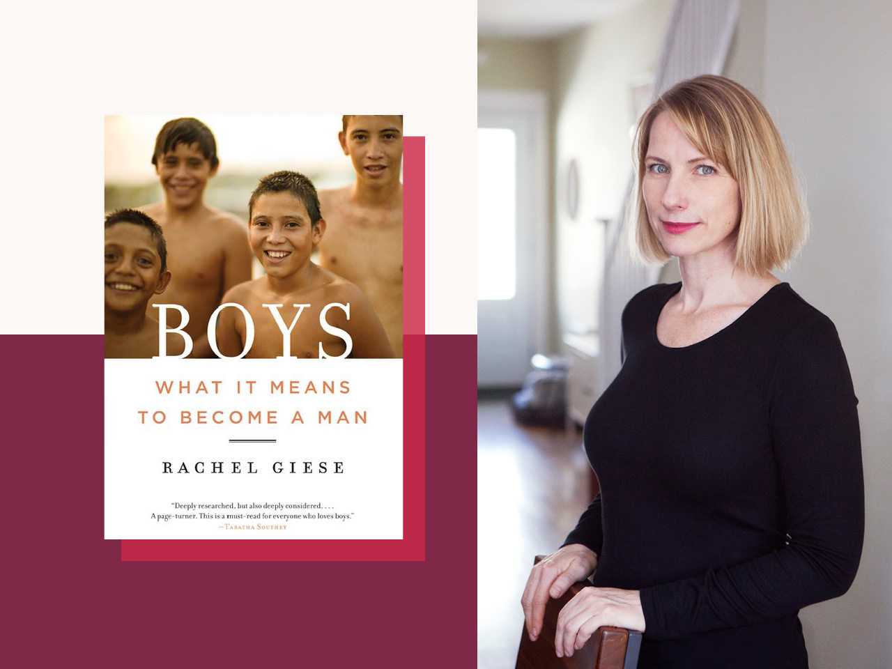 sex education-Rachel Giese and a cover image of her new book, BOYS