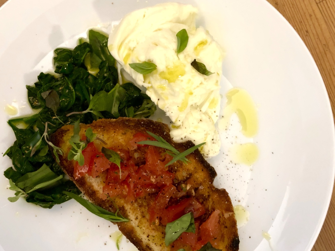 River Cafe Bruschetta with tomatoes, fresh mozzarella and spinach