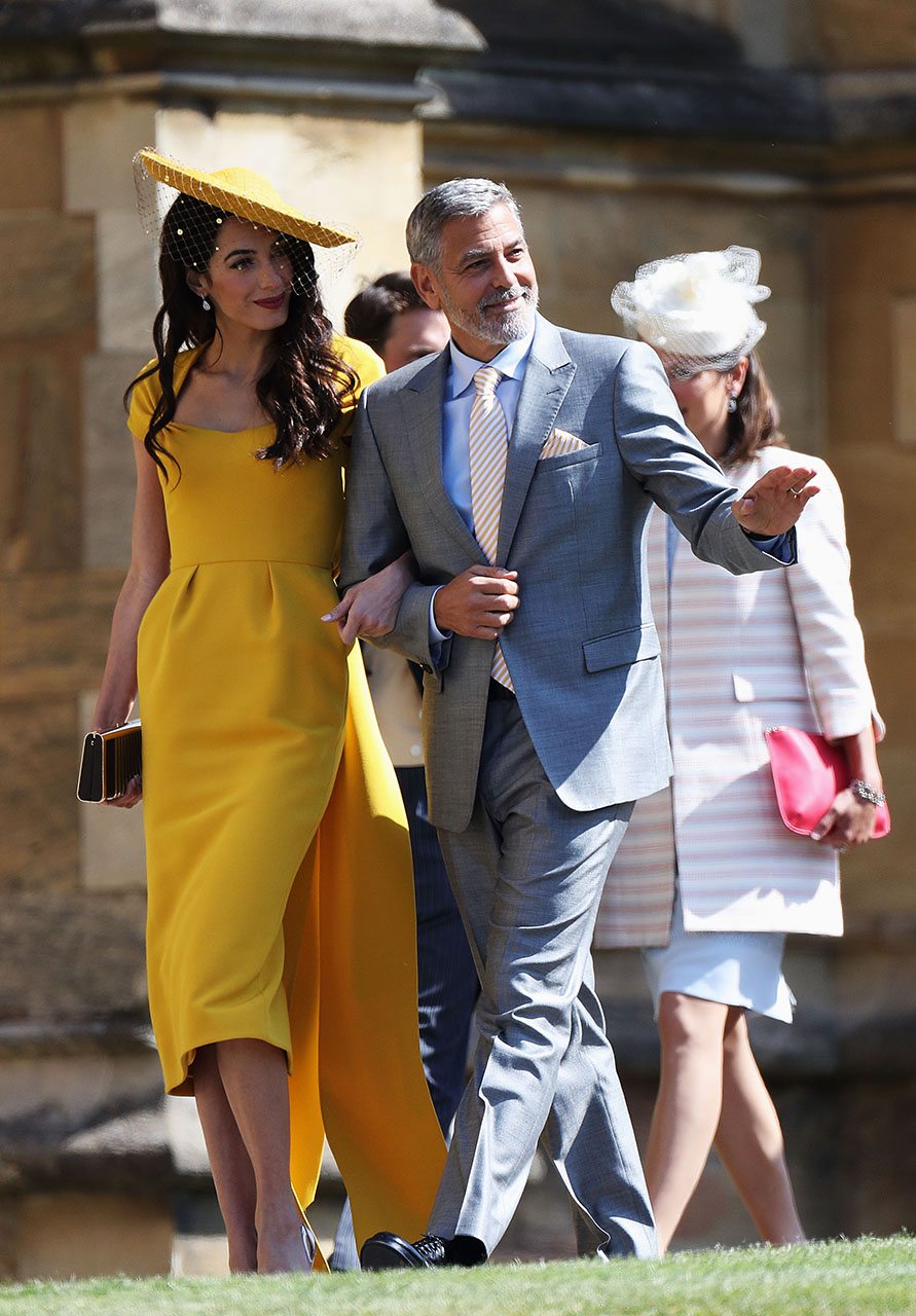 Amal Clooney and George Clooney arrive at the royal wedding of Prince Harry to Ms Meghan Markle