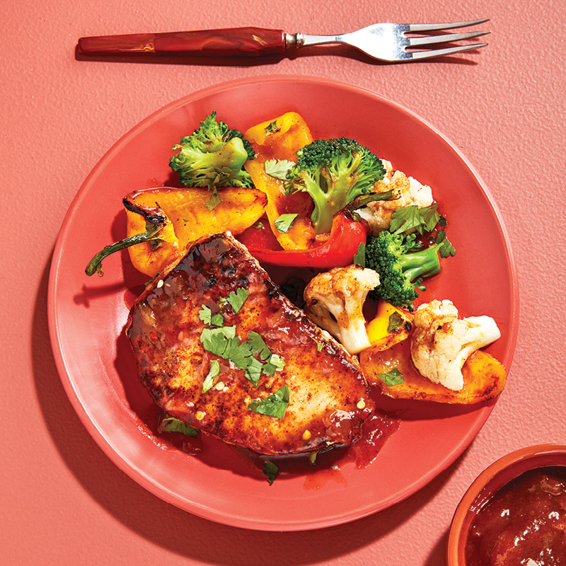 Garam masala pork chops with mango chutney