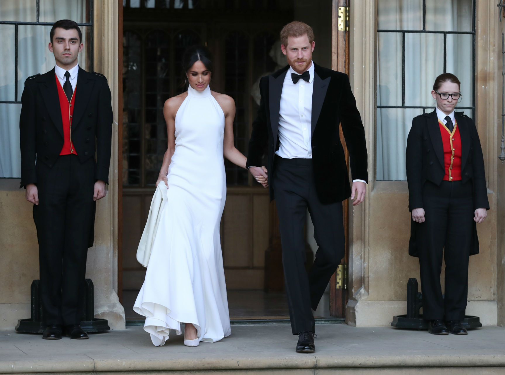 Meghan Markle in her second wedding dress, a bespoke Stella McCartney evening gown