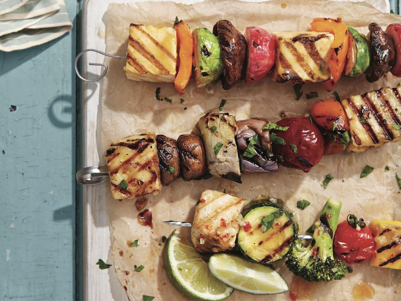 Monday: Miso-maple tofu kebabs