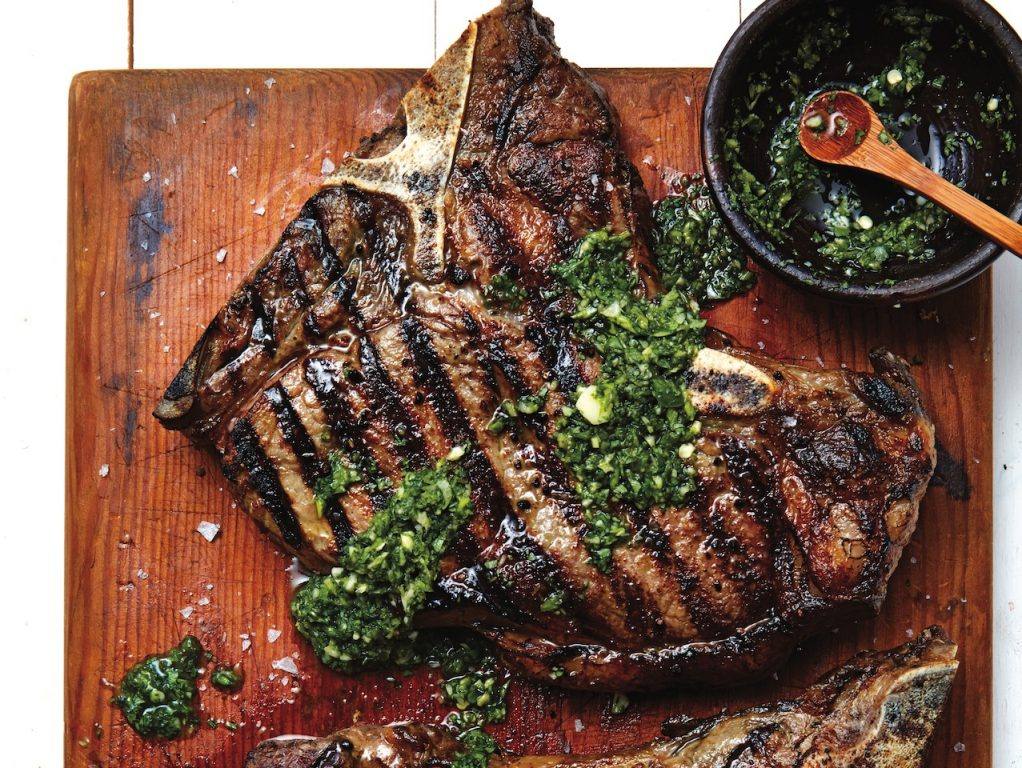 T-bone steaks with thai green sauce