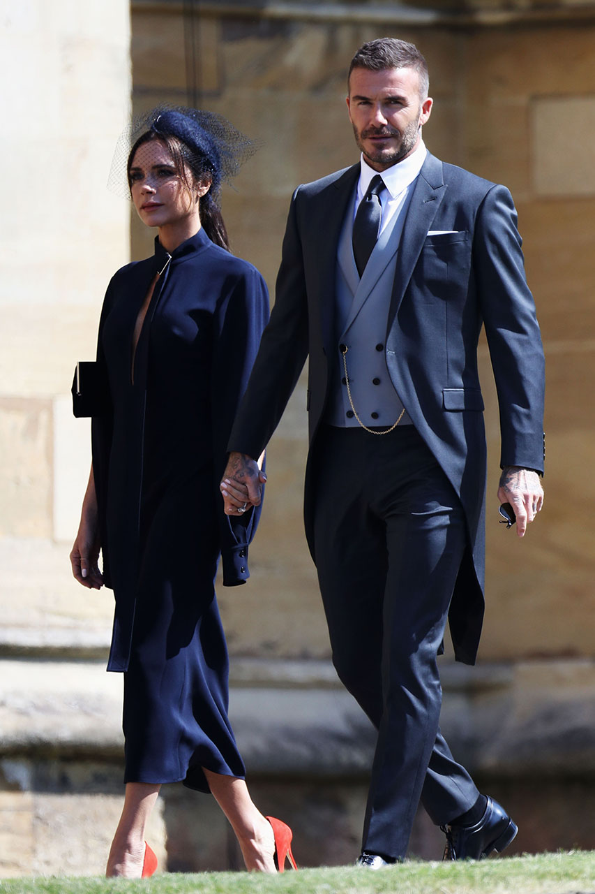 Victoria Beckham in navy dress at Meghan Markle and Prince Harry's wedding