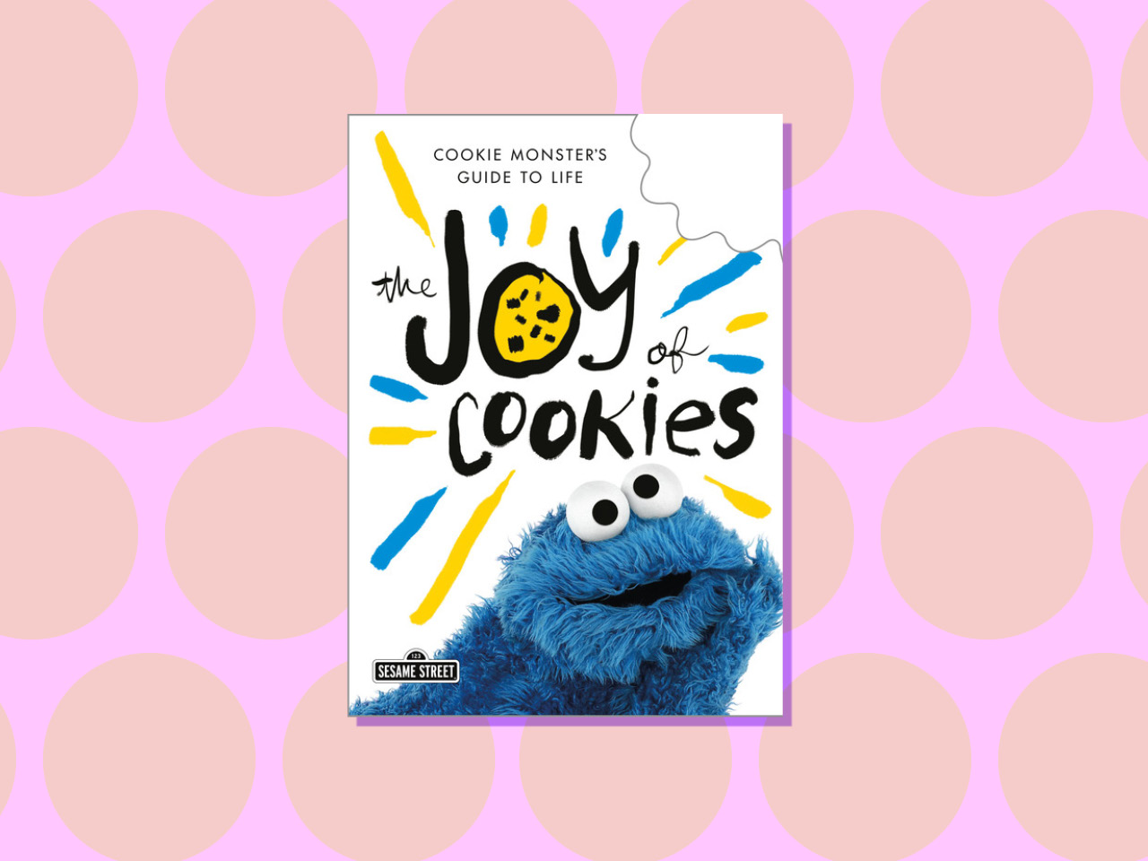Cookie Monster Book on pink polka dot background
