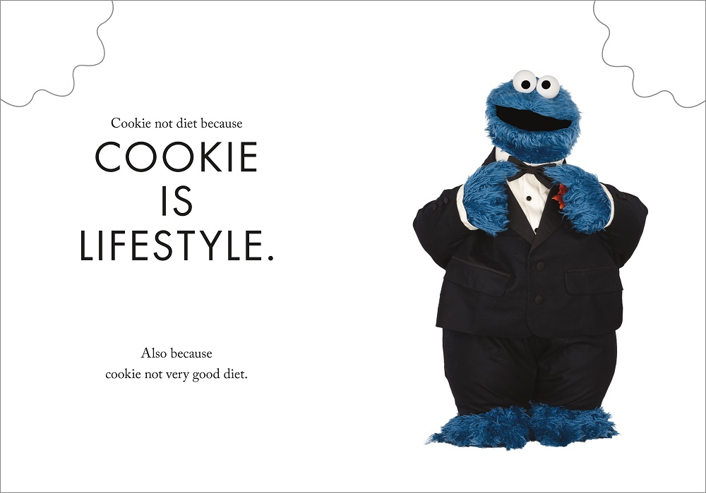 Cookie Monster wearing tuxedo