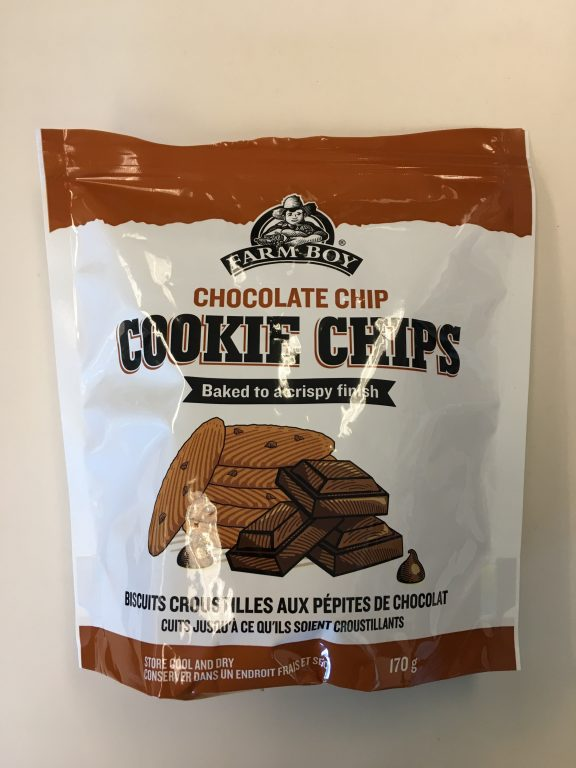 Bag of Farm Boy chocolate chip cookie chips