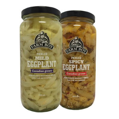 Two jars of Farm Boy pickled eggplant