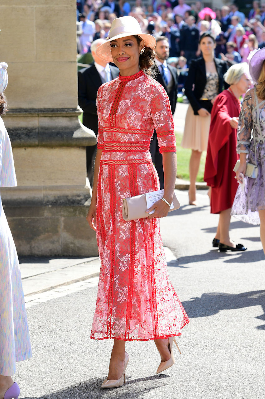 Suits star Gina Torres in beautiful red dress at royal wedding