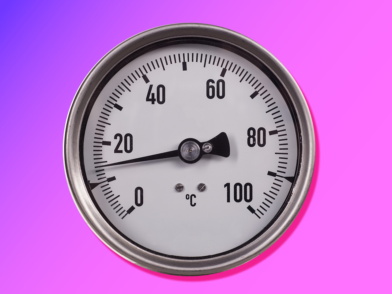 Oven thermometer on purple ombre background.