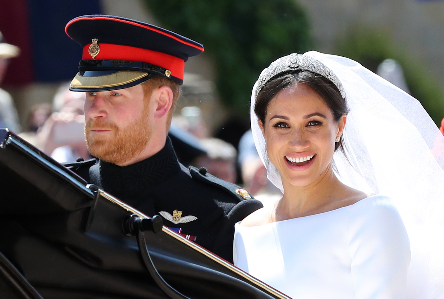 Prince Harry's wedding beard with Meghan Markle in car