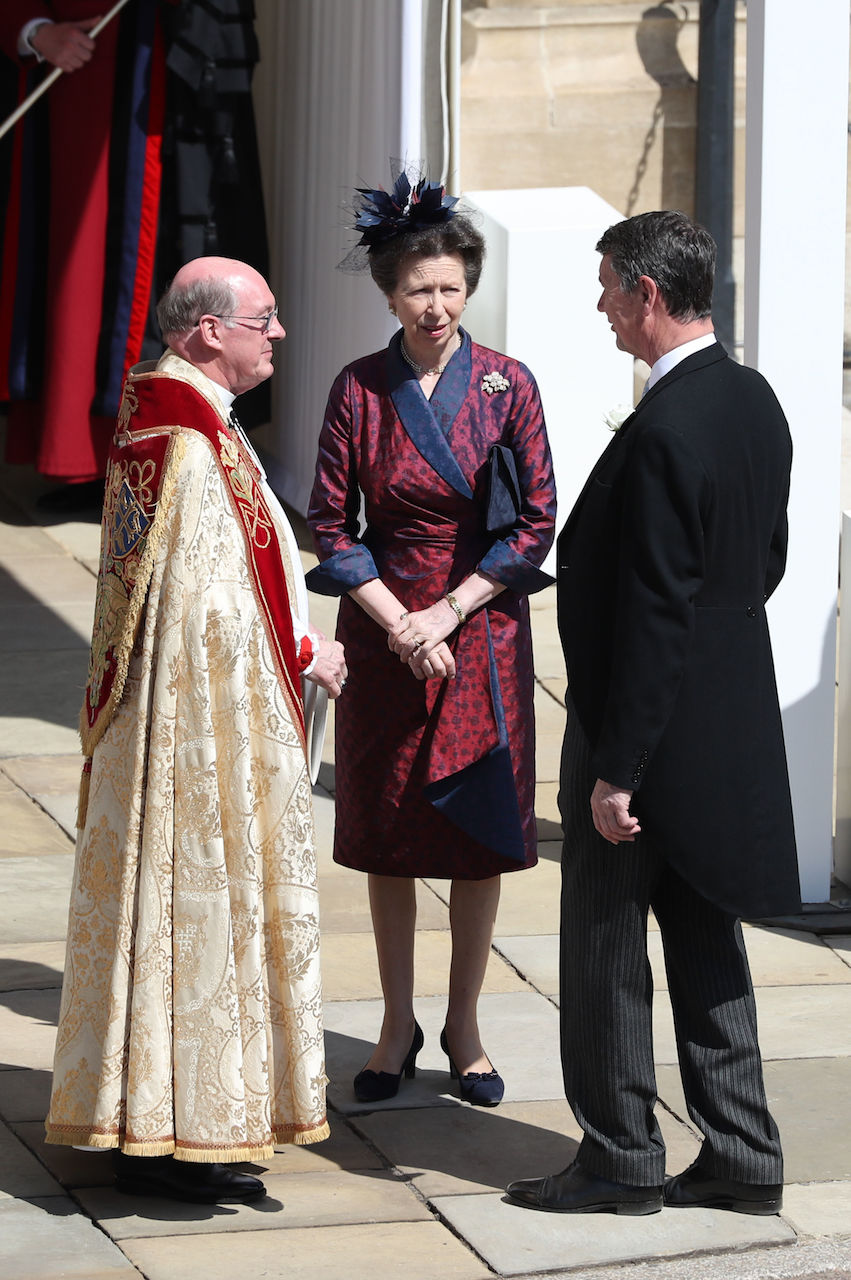 Princess Anne in a wrap dress at the wedding of Meghan Markle and Prince Harry