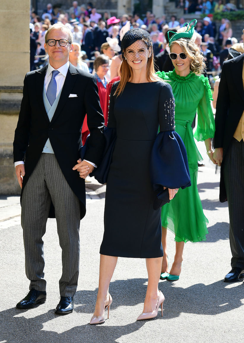 Suits star Sarah Rafferty in blue Lanvin dress at the royal wedding