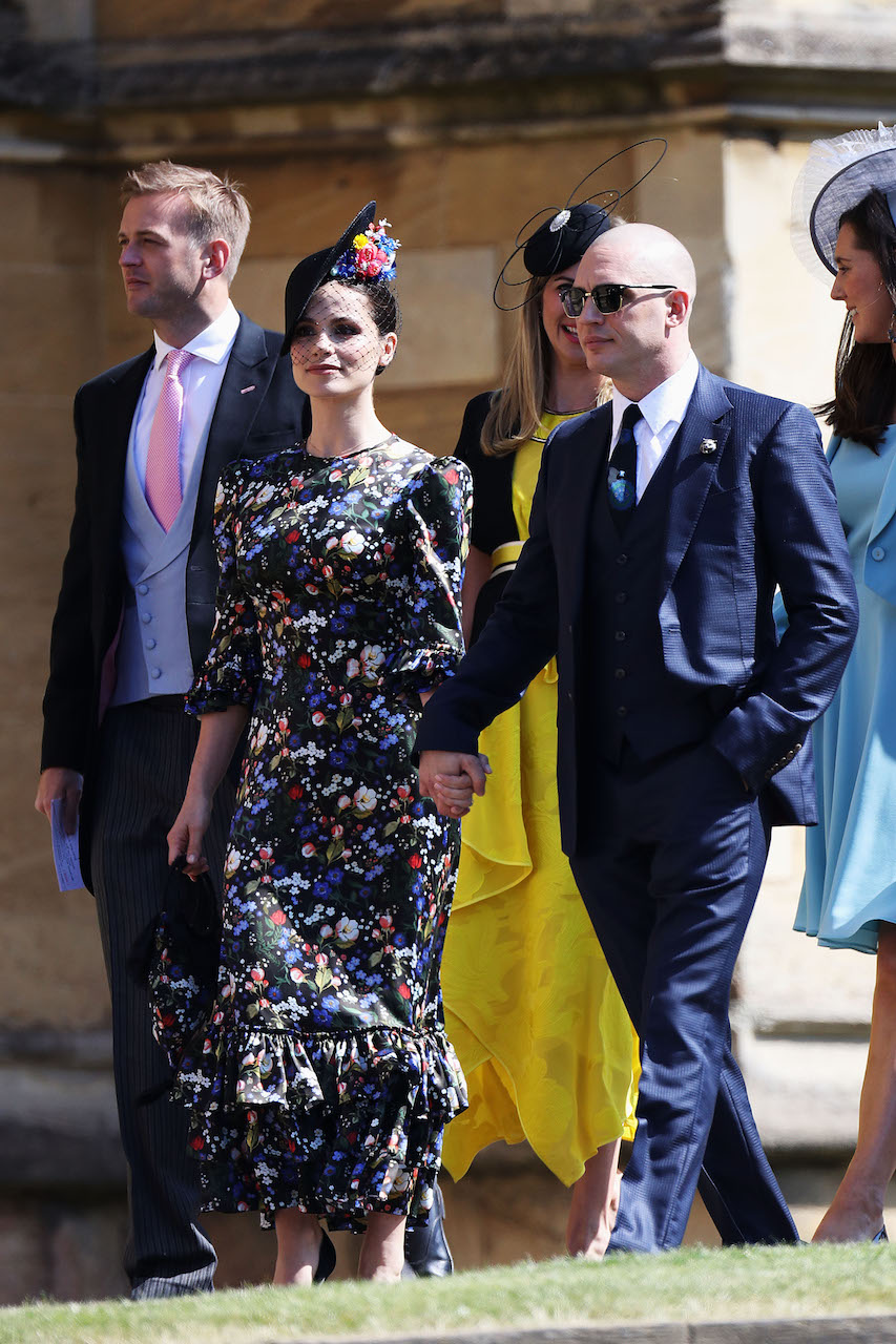 Charlotte Riley and Tom Hardy arrive at the royal wedding