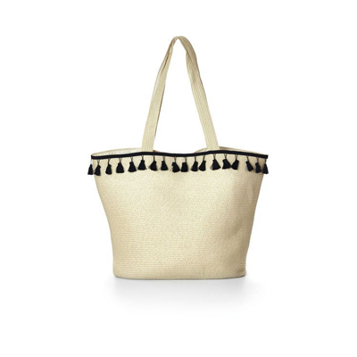 black tassel straw tote from cleo