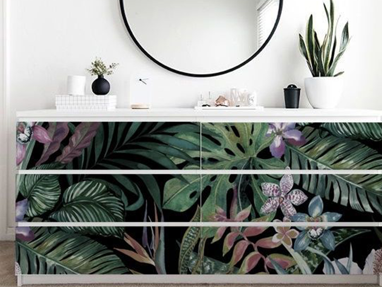 Behang Fabriek malm dresser palm leaf decals
