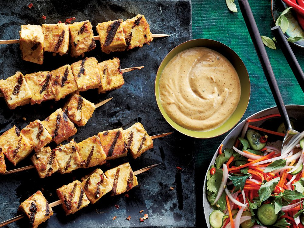 Grilled satay tofu skewers